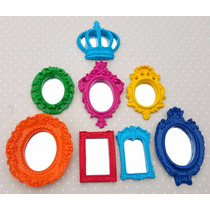 Kit 7 Espelhos Com Molduras Em Resina Coloridas Pop Decorei