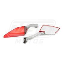 Espelho Retrovisor Esportivo Moto Vermelho Koso Honda Cg 125