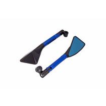 Espelho Retrovisor Esportivo Moto Azul Tomok Honda Cg 125