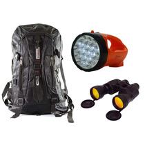 Kit Camping Mochila Binóculo Lanterna 1 Só Frete Especial