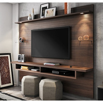Estante Home Theater Painel Suspenso Veneza Chocolate Fosco