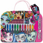 Kit Escolar Maleta Artistica Monster High 28 Itens Original