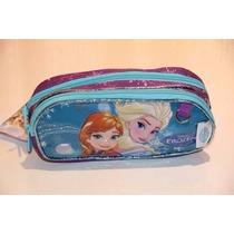 Estojo Escolar Infantil Frozen Disney C/2repartições+ Brinde
