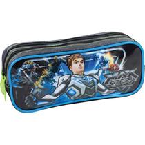 Estojo De Tecido Max Steel 16y Gd 2ziperes Azul Sestini