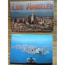 2 Cartões Postais Cartão Los Angeles E New York Usa