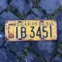 Placa Amarela Antiga Traseira Ib-3451 Caxias Do Sul - Rs
