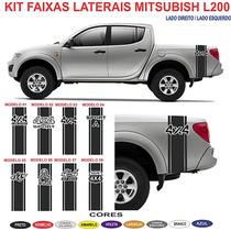 Kit Adesivos Laterais Mitsubish L200 Triton Sport 4x4 Faixa