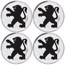 Jogo Emblemas Peugeot Prata P/calota Ou Roda C/4 Peças 58mm