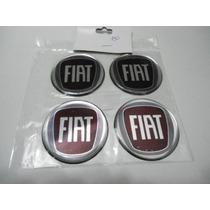 Emblema Resinado De Calotas Ou Roda Fiat Fundo Vermelho 58mm
