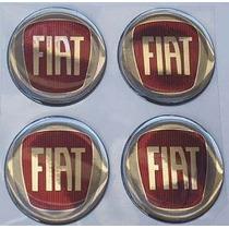 Kit De 4 Emblemas Vermelhos Fiat Para Rodas Ou Calotas 58mm