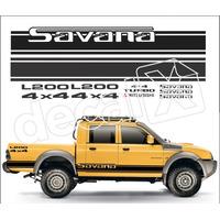 Kit Faixas Adesivos Mitsubishi L200 Savana 4x4 - 3m - Decalx