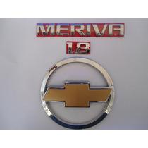 Kit Emblemas Meriva + 1.8 + Gravata Mala Dourada - Mmf