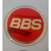 Kit Emblemas Centro De Roda Bbs Vermelho- 48,51,58mm