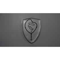 Emblema Cromado Resinado Santa No Terço / Nossa Senhora -nbz