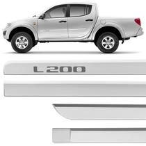 Friso Lateral Mitsubishi L200 2008 A 2015 Prata Cool Jogo