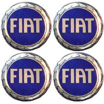 Kit Emblemas Fiat Azul P/calota Ou Roda C/4 Peças 58mm