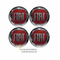 Emblema Fiat Vermelho Botom Calota Roda Resinado 48 Mm E 55m