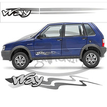 Adesivos Faixas Laterais Para Fiat Uno Way (guga Tuning)