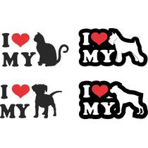 Adesivo Cachorro I Love My Personalizado Nil Refletivo