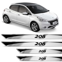 Jogo Adesivo Soleira Peugeot 208 13 14 15 Resinada Escovado