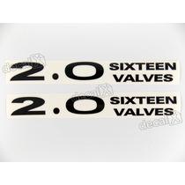 Par Adesivos 2.0 Sixteen Valves Capo Pajero Tr4 Em Preto