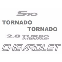 Kit Cinco Adesivos Chevrolet S10 Tornado - Até 2005 - Prata