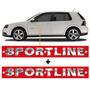 Kit De Emblemas Sportline Cromado C/ 2 Peças P/ Vw Golf.