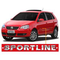 Emblema Lateral Cromado Sportline Vw Polo Hatch Ou Sedan.