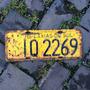 Placa Amarela Antiga Traseira Iq-2269 Caxias Do Sul- Rs