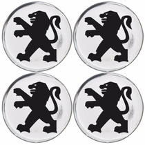 Jogo Emblemas Peugeot Prata P/ Calota Ou Roda C/4 Peças 48mm