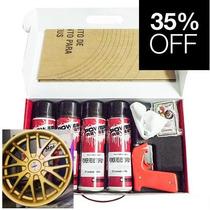 Kit P/ 4 Rodas Envelopamento Líquido Dourado Metálico Spray