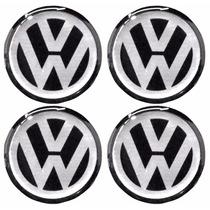 Jogo Emblemas Volkswagen P/ Calota Ou Roda C/4 Peças 90mm