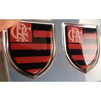 Par De Emblemas Escudo Flamengo Resinado Carro Vidro Adesivo