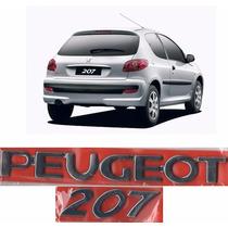 Emblema Nome Peugeot + 207 Cromado