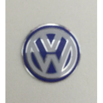 Emblema Logo Chave Canivete Vw Polo Golf Alumínio Azul