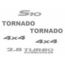Kit Seis Adesivos Resinados S10 Tornado - Até 2005 - Prata