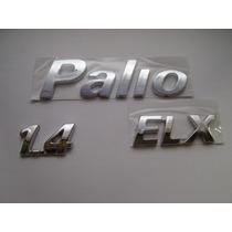 Kit De Emblemas P/ Fiat Palio + Elx + 1.4 - Bre