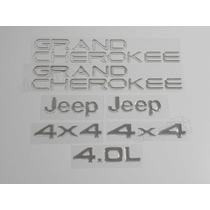 Kit Adesivos Grand Cherokee Jeep 4x4 4.0l Resinado - Cromado