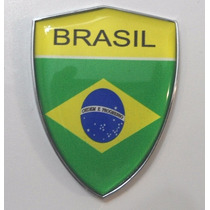 Escudo Cromado E Com Resina Na Bandeira Do Brasil - Bre