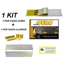 Kit Par Faixa Ouro Refletiva Caminhões C/ Placa Aluminio