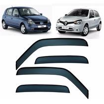 Jogo Calha De Chuva Fume Acrílico Renault Clio 4p Fase 2