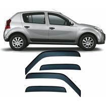 Jogo Calha De Chuva Fume Acrílico Renault Sandero 08 A 2013