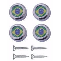 Kit 4 Capa Parafuso De Placa Universal Bandeira Brasil