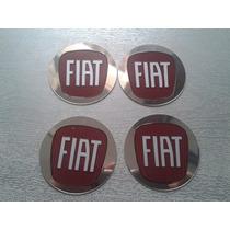 Kit Emblemas Aluminio Fiat Vermelho 58mm P/ Rodas/calotas