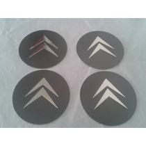 Kit Emblemas Aluminio Citroen Grafite 58mm P/ Rodas/calotas