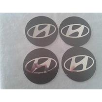 Kit Emblemas Aluminio Auto Relevo 55mm Hyundai Grafite