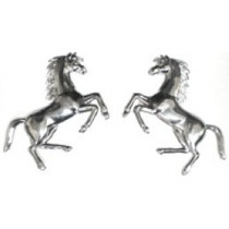 Emblema Adesivo Cavalo Ferrari Grande Cromado- Par