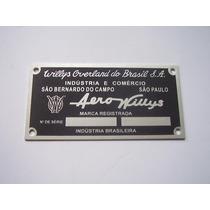 Tarjeta Aero Willys Emblema Do Cofre Do Motor