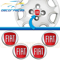 Kit Com 4 Emblema Fiat Roda Calota 48mm 51mm 58mm Vermelho