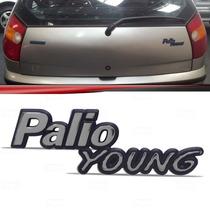 Emblema Porta Malas Fiat Palio Young Cromado Fundo Azul
